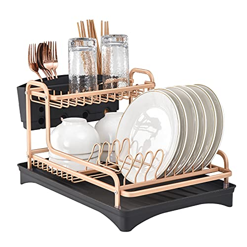 NSFRCLHO Dish Drainer Rack with Drip Tray and Utensils Holder 2 Tier Small Dish Plate Drying Rack with Drainboard for Kitchen Counter - Space Aluminium Alloy, 360° Swivel Spout, Rose Gold