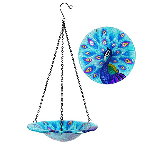 """Comfy Hour Peacock Decor Collection 8"""" Glass Tray Metal Art Peacock Plate Hanging Bowl Bird Feeder Birdbath, Total Height 17"""" Including Chain"""