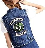 Yesgirl Riverdale Southside Serpents Femmes Denim Veste Jean Jacket Boutonné Gilet Tour Décolleté sans Manches Dames Casual Tops Poitrine Poches B Bleu Foncé S