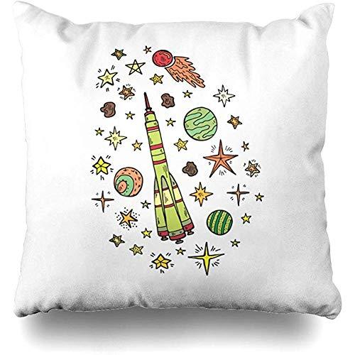 Funda Para Almohada,Telescopio Astronomía Composición Ufo Cute Space Astronaut Science Back Board Colección Cosmos Comet Funda De Almohada Con Cremallera Decoración Para El Hogar Funda De Cojín 4