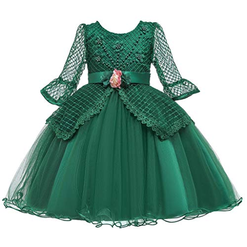 Lazzboy Kostüm Kinder Prinzessin Kleid Karneval Cosplay Party Halloween Faschingskostüm Kleinkind Kind Mädchen Lace Longsleeve Tüll Kleidung(Grün,Höhe130)