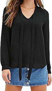 CRYYU Women Plus Size Chiffon Lace Up Long Sleeve V-neck T-Shirt Blouse Top