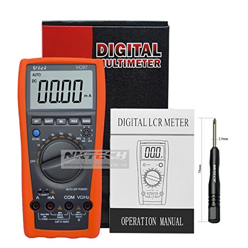 nktech Vici VC97multímetro digital LCD probador temperatura AC DC voltaje corriente resistencia capacitancia frecuencia amperímetro Ohm Medidor con termómetro + TL-1destornillador