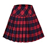 Urban GoCo Donna Versatile Plaid Pieghe Mini Gonna da Plissettata Vita Elastica Scozzese Gonna #5 Rosso M