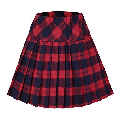 Urban GoCo Mujeres Falda Escocesa Plisada con Cintura Elástica Escuela Uniforme Falda Cuadros (2XL, #5 Rojo)
