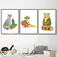 森の動物クマフォックスウルフ保育園ウォールアートキャンバス絵画北欧のポスターとプリント壁の写真キッズルームの装飾-40x60cmx3個フレームなし