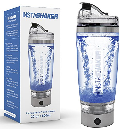 InstaShaker (2018 Model) Protein Shaker Bottle - Electric Protein Blender 20 oz | Vortex Mixer Cup | USB Rechargeable | Integrated Powder Storage Container |