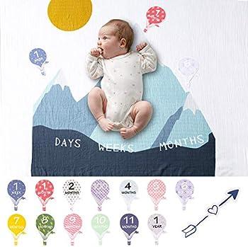 Mamimore Organic Baby Monthly Milestone Blanket