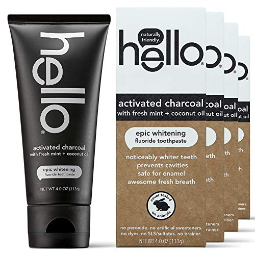 Hello Oral Care Activated Charcoal Fluoride Whitening Toothpaste, Vegan & SLS Free, 4 Count
