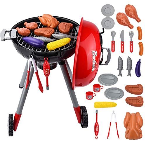 JVSISM Juegos de Juguetes para Ni?Os BBQ Barbecue Grill Accesorios de Juguete Juego para Ni?Os rol Chef SimulacióN Trajes de Barbacoa Cocina Realizar Regalo