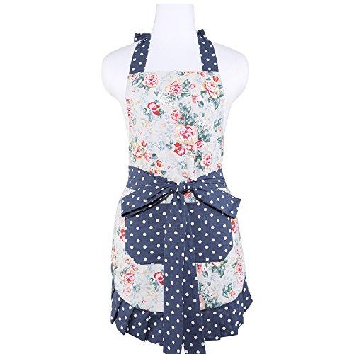 NEOVIVA Küchen schürzen für Frauen mit Taschen, doppellagige Latzschürze zum Kochen, Backen, Grill und Gartenarbeit, Stil Kathy, Floral Quarry Bloom