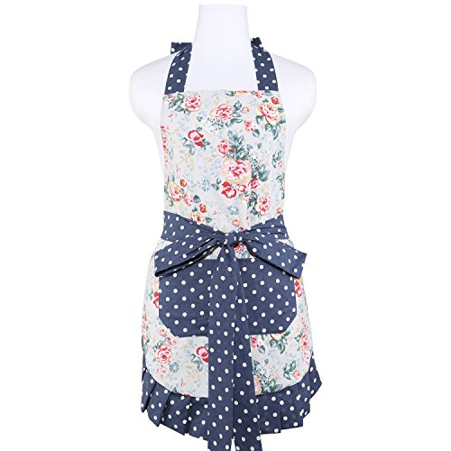 NEOVIVA Kitchen Apron for Women with Pockets, Double-Layered Bib Aprons for...