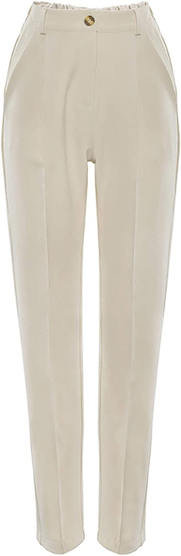 BSbattle Vintage Fermeture Éclair Kaki Pantalon Femmes Taille Haute Pantalon de Bureau Dames Marron Pantalon de Travail Automne Long Pantalon 2020 Pantalon Marron
