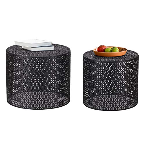 Joveco Side End Coffee Table Set of 2 Nightstands Black Round Nesting Tables(Black2)