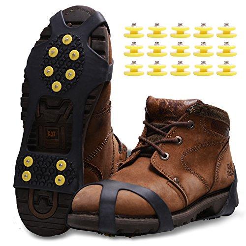 Molee Ramponi,Ice Tacchetti Trazione Antiscivolo su Scarpe/Stivali 15 Borchie Neve Ghiaccio Ramponi Tacchetti Spikes (Nero, S)