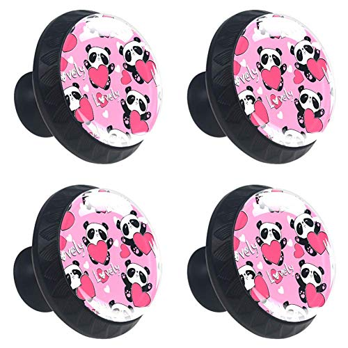Panda Bearon Pomo de cajón con tirador redondo para muebles con tornillos, decoración del hogar para armario de cocina, armario, aparador 4 piezas