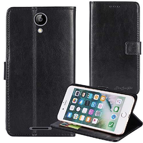 TienJueShi Schwarz Flip Book-Style Brief Leder Tasche Schutz Hulle Handy Hülle Abdeckung Fall Wallet Cover Etui Skin Fur TP-Link Neffos C7A 5 inch