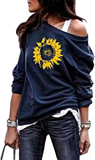 Womens Cute Sunflower Ptinted Graphic Sweatshirts Sexy Off Shoulder Long Sleeve Casual Pullover Shirts Tops
