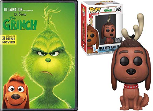 Dog Helper Max Santa Mean one Grinch + Illumination Dr. Seuss Christmas Animated Holiday Classic + Bonus Who-ville Funko Max in Reindeer ears Pop! Figure Pack DVD Deluxe 3 Mini Cartoons edition