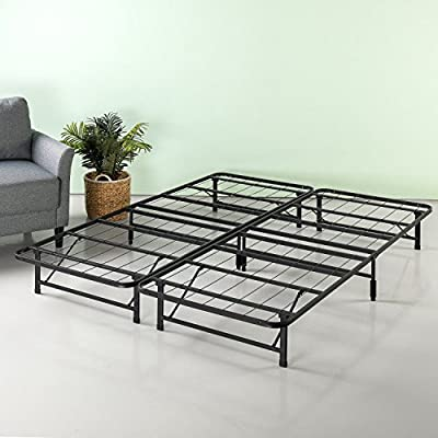 Zinus SmartBase Zero Assembly Bed Frame, Queen, Black - 12 inches high with 11 inches of clearance under the frame for valuable under bed storage space No tools are required, assembles in minutes Best fit for average weight people - bedroom-furniture, bedroom, bed-frames - 51jA0KIFZZL. SS400  -
