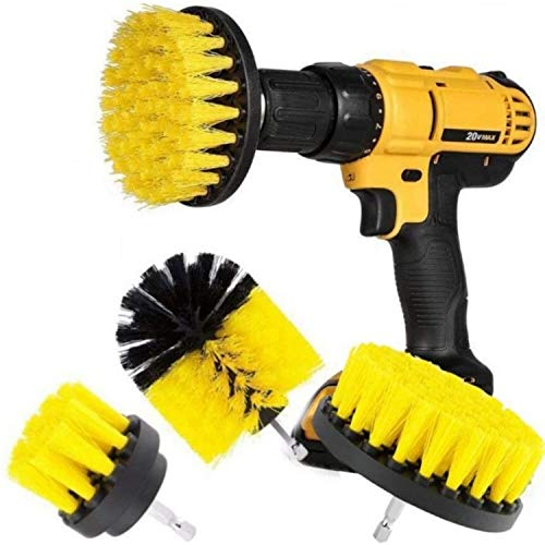 DRILL BRUSH 360 Original Attachments 3 Pack kit Medium- Yellow All Purpose Cleaner Scrubbing Brushes for Bathroom Surface, Grout, Tub, Shower, Kitchen, Auto,Boat,RV