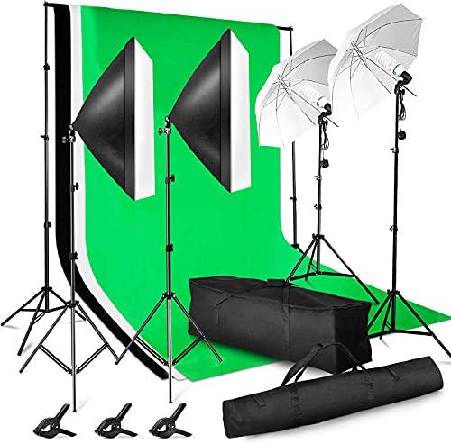 ESDDIPhoto Kit professionale per studio fotografico 2,6 m x 3 m / 8,5 m x 10 ft sistema di supporto per sfondo 3 X tessuto softbox luce per studio fotografico, Nero