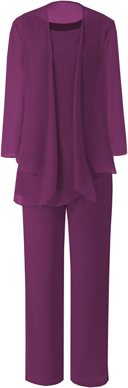 Women's 3 Pieces Elegant Mother of Bride Dress Pant Suits with Jacket Chiffon Outfits Formal Dresses Party