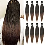 Pre Stretched Braiding Hair 26 Inch Easy Braid Ombre Brown Yaki Texture Synthetic Fluffy Hair Extensions for Braiding Crochet Braids 8 Packs can Hot Water Setting(1B-30, 26inch)