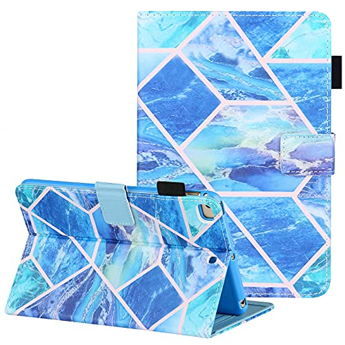 Uliking iPad Mini Case, iPad Mini 2 3 4 5 Case, PU Leather Cover with Pen Holder, Stand Smart Case Auto Sleep Wake for iPad Mini 5th/4th/3rd/2nd/1st 7.9 inch Tablet, Blue Grid Marble