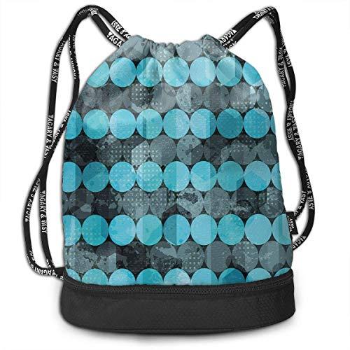 shenguang Kordelzug Rucksäcke Taschen, zeitgenössische Kunst Inspiration mit Punkten in kalten Farben Gefrieren kühles Wintereis, verstellbar