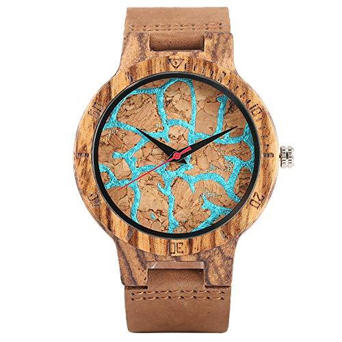 IOMLOP Reloj de Madera Rayas únicas Líneas Dial Reloj de Madera Reloj de Cuarzo Creativo de bambú para HombreCuero, Línea Azul