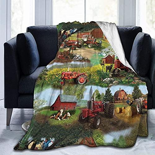 Manta del tractor de los niños, manta del muchacho del camión de la excavadora de la granja de la cosechadora, manta suave cómoda de la felpa del sofá de la cama,