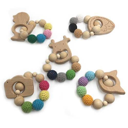 Why Choose Amyster 5pcs Crochet Bead Teething Ring Set Untreated Maple Teether with Organic Wood Toy...