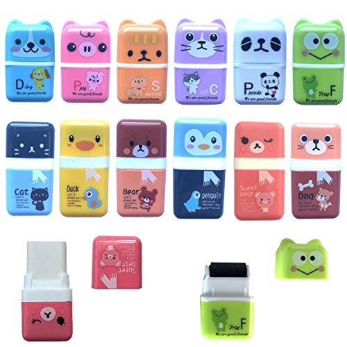 12 PCS Cute Pencil Erasers,Animal Pencil Eraser Shaving Roller Case for Easy Pick Up and Removal,Animal Themed Fun Party Favor and School Supplies for Kids,Christmas stocking filled gift