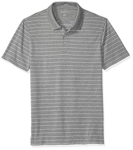Amazon Essentials Men's Slim-Fit Quick-Dry Golf Polo Shirt, Medium Gray Heather Stripe, Medium