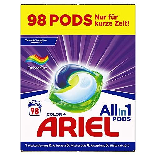 Ariel Waschmittel Pods All-in-1, Color Waschmittel, Frischer Wäscheduft und Farbschutz, 98 Waschladungen (2 x 49)