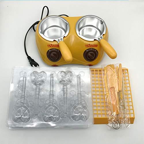 Wilk Productos del hogar convenientes Útil eléctrico de Doble Fuente de Chocolate 250 * Capacidad 2ML Fondue de Chocolate Derretir Melting Pot máquina Amarilla / 1PC