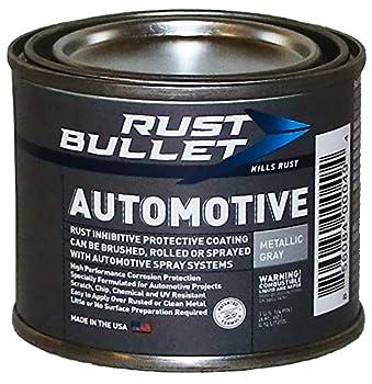 RUST BULLET - Automotive Rust Inhibitor Paint - Rust Preventive Protective Coating - No Topcoat Needed - 4 oz Can Metallic Gray