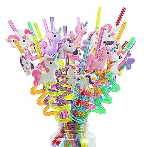 20 Pezzi Cannucce Di Unicorno Per Bambini Bambine Festa Di Compleanno Potabile Unicorn Cannucce Riutilizzabile Per Riunioni, Matrimoni, Attività, Decorazioni Per Compleanni