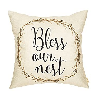 Fahrendom Rustic Bless Our Nest Vine Wreath Vintage Country Style Retro Farmhouse Quote Gift Cotton Linen Home Decorative Throw Pillow Case Cushion Cover with Words for Sofa Couch 18 x 18 Inch