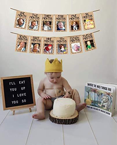 JeVenis Wild One Baby-Fotobanner Wild One 12-Monats-Banner Erste Geburtstagsdekoration 12-Monats-Fotobanner Erste Geburtstagsgirlande Erste Geburtstagsmonats-Fotobanner