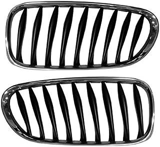 Koolzap For 03-08 Z4 Front Grill Grille Chrome Frame w/Black Bars Left & Right Side SET PAIR