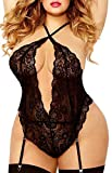 Plus Size Lingerie for Women, Twisted Keyhole Opening High Criss-Cross Plunging Lace Trim Teddy (L, Black)