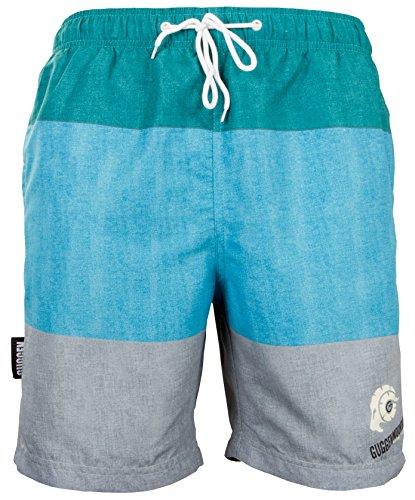 GUGGEN Mountain 880 Bañador para hombre, pantalones cortos de playa, de secado rápido, con cordón de ajuste, diseño a rayas, color verde y morado, verde y gris, XXXXL