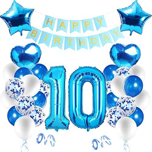 Decoración de cumpleaños en azul,Globos Numeros 10 Decoracion,10 Año Decoraciones de cumpleaños para niños,Decoraciones de Fiesta de Cumpleaños,9 año Cumpleaños Decoración Niño