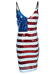 Spaghetti Strap Sleeveless USA American Flag Sequin Dress