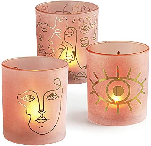HOMMAX Teelichthalter, D9x H10 cm Windlicht 3 er Set aus Glas, Moderne Gesichtmuster Teelichtgläser,Kerzenhalter für Tischdeko,Deko für Wohnzimmer Schlafzimmer Hochzeit Einweihungsparty oder Geschenk