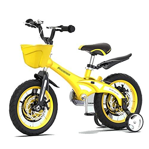 Durable Bicicleta para niños de aleación de magnesio, bicicleta juvenil de 12 pulgadas con ruedas de entrenamiento y guardabarros, azul y amarillo con diseño de la flor de DIY niños diseño de pegatina