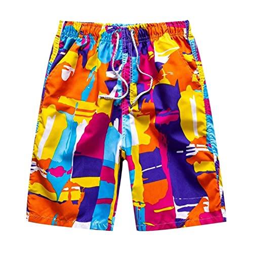 Verano de los Hombres Cortos de Playa Corto Transpirable de Secado Rápido Suelto Casual Hawaii Impresión Pantalones Cortos Hombre Más Tamaño Traje de Baño