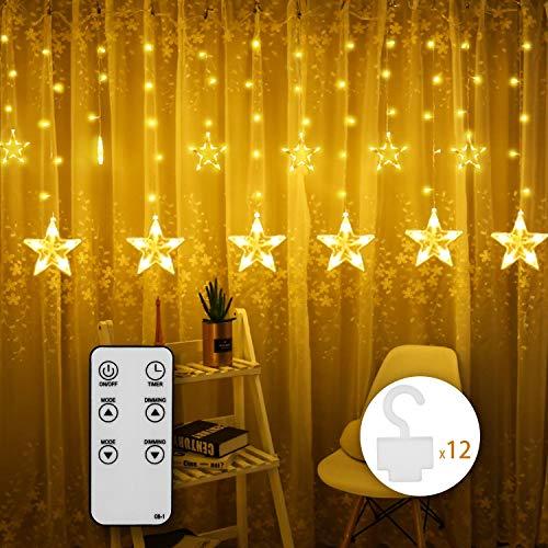 Lichtgirlande mit 12 Haken IDESION Lichtvorhang 12-Star 108 LED 8 Lichtmodi 2,2m * 1m Licht mit Fernbedienung für Hauptdekoration Fenster Hochzeit Weihnachtsfeier Warmweiß